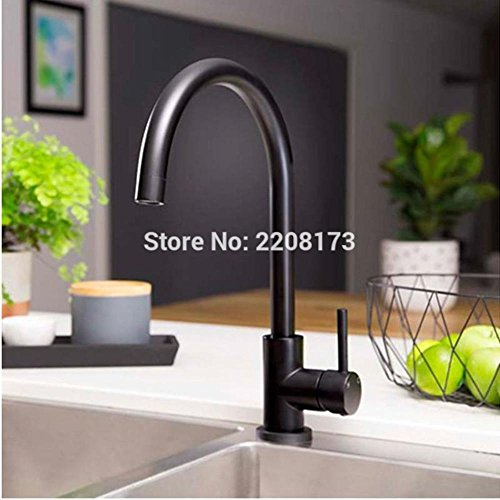 (Simple style 100% Copper Matte black Kitchen Tap Deck Mounted Faucet)