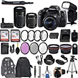 Canon EOS Rebel T6i DSLR Camera EF-S 18-55mm f/3.5-5.6 is STM Lens + EF-S 55-250mm f/4-5.6 is STM Lens + 2Pcs 32GB Sandisk SD Memory + Universal Flash + Battery Grip + Filter & Macro Kits + More