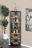 Segovia Sand Black Wood 6-Tier Corner Shelf by Furniture of America