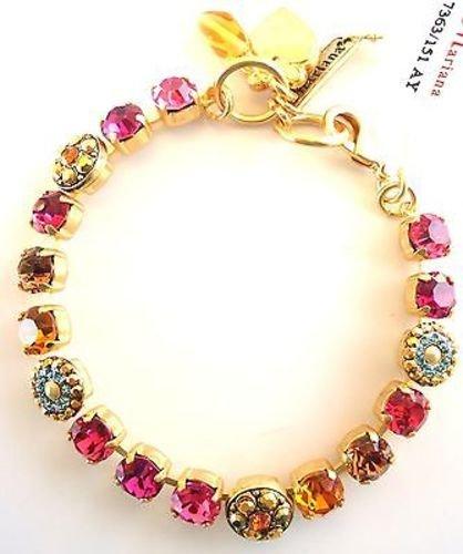 Mariana Gorgeous Pink & Topaz w Aqua Floral 1330 Swarovski Goldtone 7 Bracelet