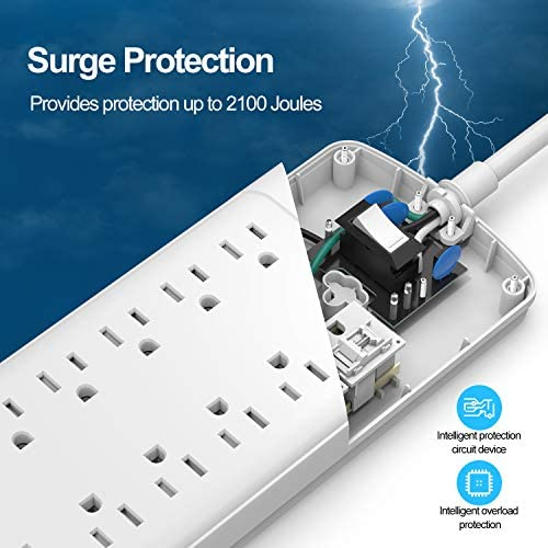 Power StripWiteem Surge Protector with 12Outlet 1875W15A4360Joules and 4 USB Charging Ports