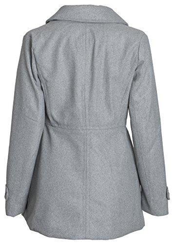 Urban Junior Women Classic Wool Look Padded Winter Dress Peacoat Jacket Pea Coat - Heather Grey (Small)