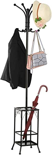 Topeakmart Coat Rack Stand, Coat Tree, Coat Hat Rack, Hall Tree Free Standing for Home or Office