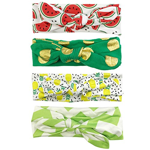 Allydrew Girls Adjustable Bow Headband (set of 4), Fruits ()