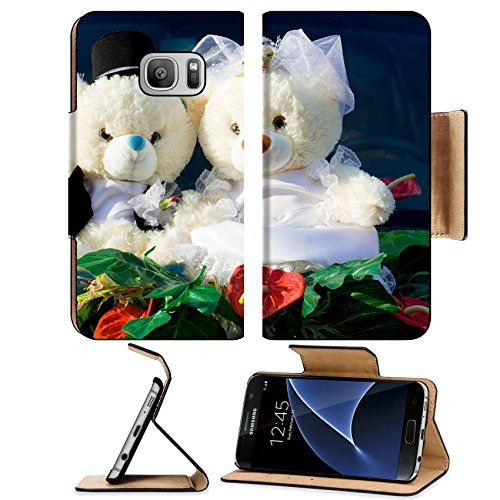 Liili Premium Samsung Galaxy S7 Flip Pu Leather Wallet Case IMAGE ID: 7100755 Two beauty teddy bears of bride and groom wedding (Groom Glass Bears)