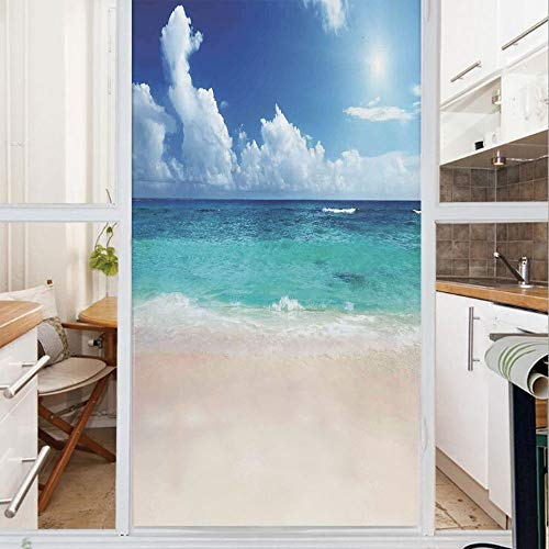 Decorative Window Film,No Glue Frosted Privacy Film,Stained Glass Door Film,Paradise Beach in Caribbean Sea with Exotic Tropical Sky Sun Calm Hot Dreams Space,for Home & Office,23.6In. by 35.4In Cream