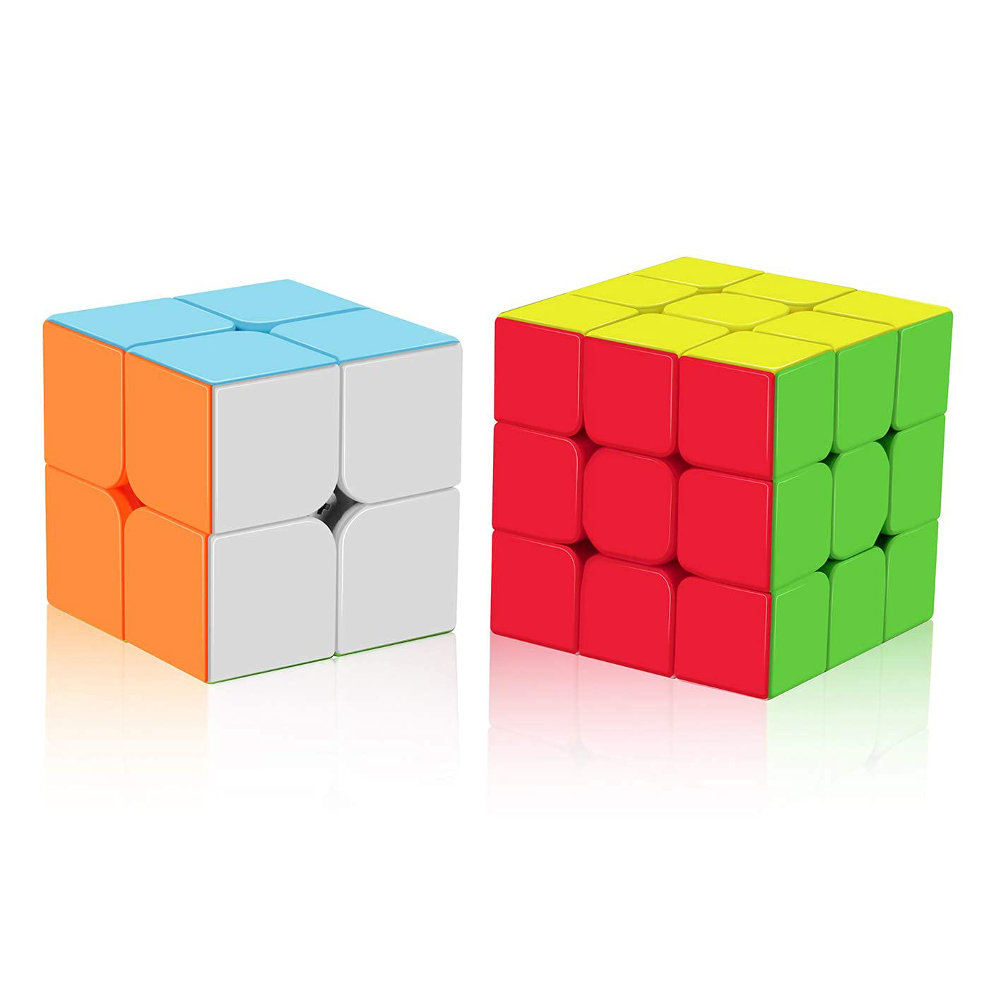 Roxenda Speed Cube Set, Stickerless Magic Cube Set of 2x2x2 3x3x3 Cube Frosted Puzzle Cube