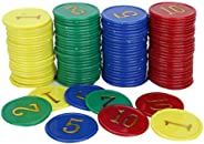 160 Pieces/Box Poker Chips, Educational Figure Chips Poker Chips for Family Activity Game Plastic Coins Reward
