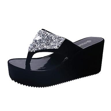 7a880d7d8 Kasien Summer Women s Slippers Rhinestone Wedges Flip Flops Fashion Clip  Toe Beach Shoe (Black