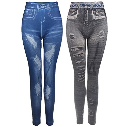 [2pcs Womens Denim Skinny Workout Gym Jeans Stretchy Leggings Pants Set (Color I)] (Ripped Leggings Costume)