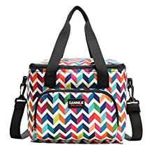 Lunch Bag Insulated Lunch Cooler Tote Bag Resuable Meal Tote Lunch Organizer Lunch Holder Portable Zips Lunch Bag with Shoulder Strap and Pockets