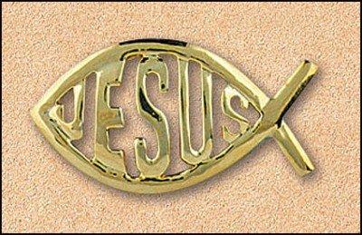 PLC 1 3/4 Ichthys Fish Jesus Christ Savior Gold Tone Religious Lapel Pin