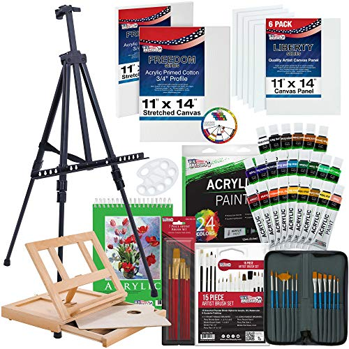 US Art Supply 72-Piece Deluxe Acrylic Painting Set with, Aluminum Floor Easel, Table Easel, 24 Acrylic Colors, Acrylic…