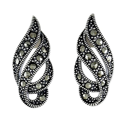 NOVICA Marcasite .925 Sterling Silver Button Earrings, Glistening Ribbons' ()