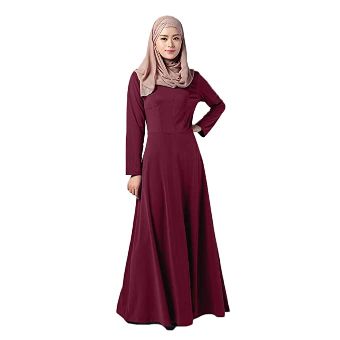 Meijunter Muslim Womens Kaftan Abaya Dress Islamic Middle East Long Sleeve Cotton Maxi Dress Malaysia Apparel Robes: Amazon.co.uk: Clothing