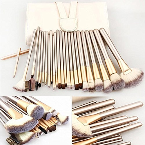 High Quality Professional Powder Foundation Brush 24pcs Makeup Brushes Set Cosmetic Real Make Up Tools blush brush with (Tarte Lash Mascara Comb)