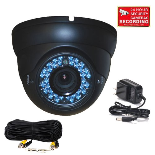 - VideoSecu Outdoor CCD Dome Vandal Proof Security Camera Day Night Vision 480TVL 36 IR Infrared Leds 4-9mm Zoom Focus Varifocal Lens for CCTV DVR Surveillance System with Power Supply and Cable BEQ