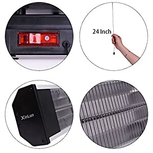Xinlun Electric Patio Heater, Wall Mounted Infrared Heater with Remote, PV15R