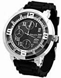 Silver & Black Tone Flat Hip Hop Men's Techno King Wrist Watch Watches and Free Earrings Set