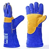 QeeLink Welding Gloves - Heat Resistant & Wear Resistant Lined Leather and Fireproof Stitching - For Tig/Mig Welders/Fireplace/BBQ/Gardening/Grilling/Stove (14-inch, Blue)