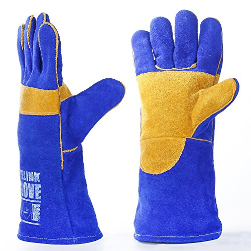 QeeLink Welding Gloves - Heat Resistant & Wear Resistant Lined Leather and Fireproof Stitching - For Tig/Mig Welders/Fireplace/BBQ/Gardening/Grilling/Stove (14-inch, Blue) by QeeLink
