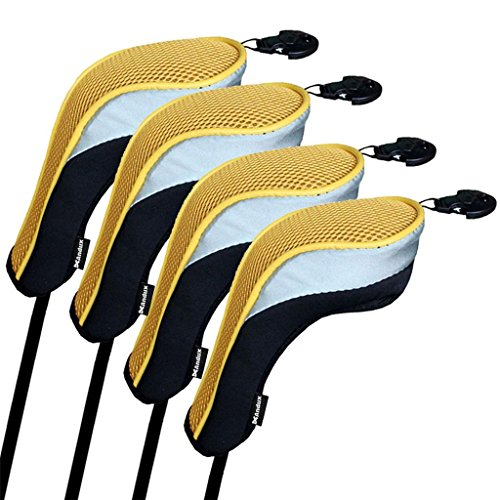 (Andux Golf Hybrid Club Head Covers Set of 4 Black & yellow Interchangeable No. Tag Mt/hy02)