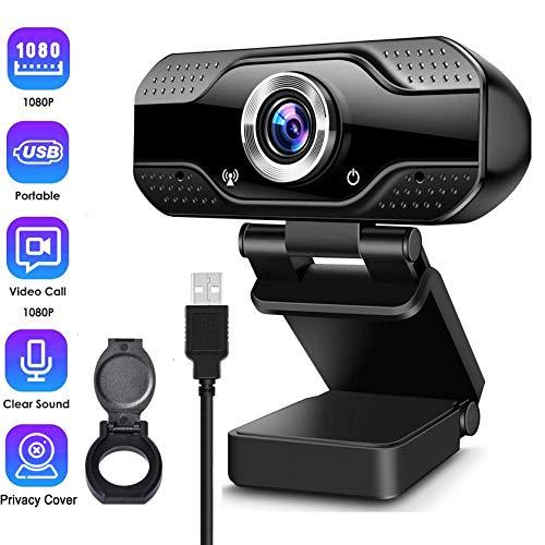 🥇 Webcam con Micrófono Cámara Pc de Transmisión en Vivo HD Web Cámara de Video con Cubierta de Privacidad Webcam USB para Video Llamada Grabación Juegos Conferencia en Línea