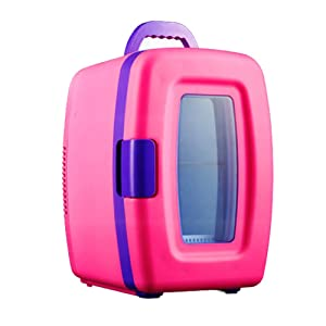 DULPLAY 10 Can Mini Fridge,Retro Portable Thermoelectric Cooler And Warmer Outdoor 12v 110v For Home, Office And Car Car Refrigerator-pink 34x24x28cm(13x9x11inch)