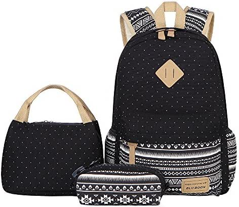 BLUBOON Teens Backpack Set Canvas Girls School Bags Bookbags 3 in 1 (Polka Dot Black)