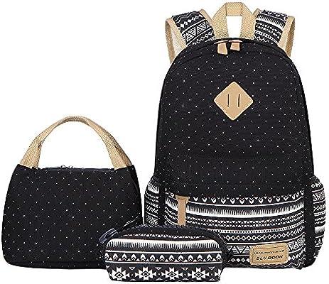2913b7197a19 BLUBOON Teens Backpack Set Canvas Girls School Bags