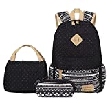 BLUBOON Teens Backpack 3pc Canvas Girls School Bag Bookbags Dot Black Deal