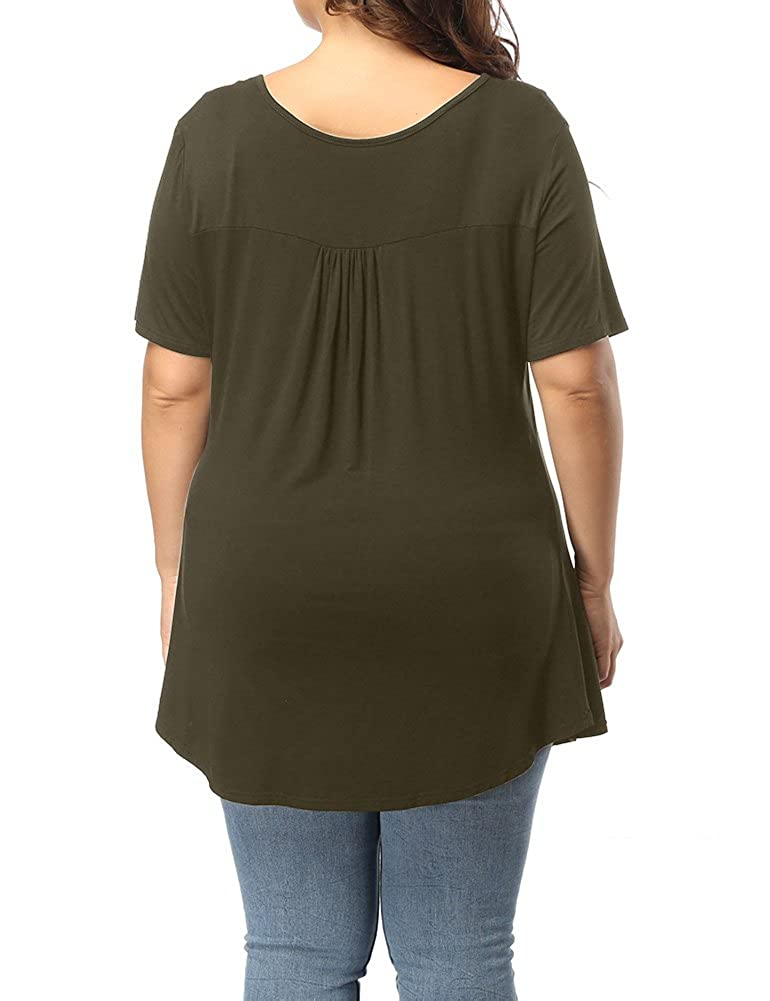 89bcbd58c4ad6 Allegrace Women s Plus Size Henley V Neck Button Up Tunic Tops Casual Short  Sleeve Ruffle Blouse Shirts at Amazon Women s Clothing store