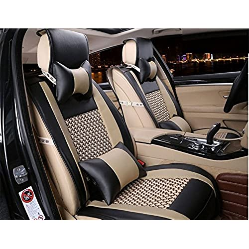 Opall 2018 Latest Full Set 10Pcs Needlework Pu Leather Front Rear Car Seat Cushion Cover For 5 Seats Vehicle Suitable Year Round Use Black