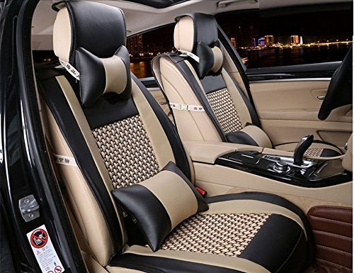 Opall 2018 Latest Full Set 10Pcs Needlework Pu Leather Front Rear Car Seat Cushion Cover for 5 Seats Vehicle Suitable for Year Round Use (Black)