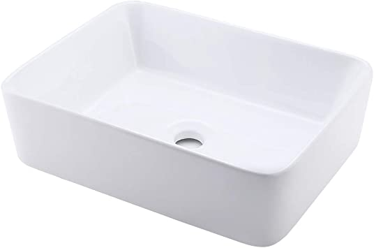 Kes Bathroom Vessel Sink 19 Inch White Rectangle Above Counter Countertop Porcelain Ceramic Bowl Vanity Sink Bvs110