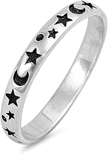 Luna y Estrellas Ajustable Anillo del Dedo del Pie Plata Esterlina 925