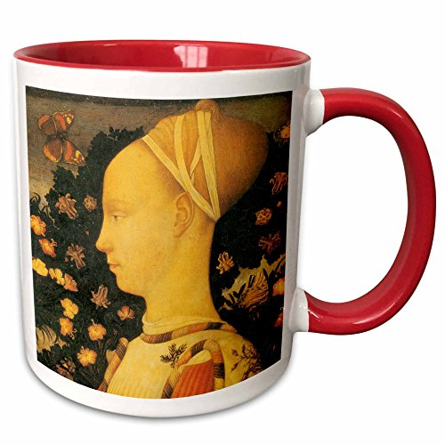3dRose BLN Italian Renaissance Fine Art Collection - Ginepro dEste by Antonio Pisano - 15oz Two-Tone Red Mug (mug_127096_10)