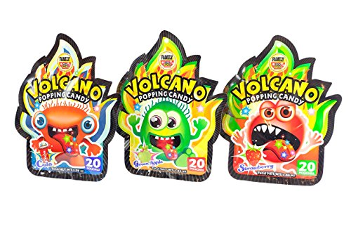 Family Volcano Popping Candy Variety - 3 Pack Bundle (Strawberry, Green Apple, Cola), 20 Pouches Each, 60 Pouches Total