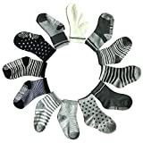 Kakalu 12 Pairs Non Skid Ankle Cotton Socks Baby Walker Boys Girls Toddler Anti Slip Stretch Knit Stripes Star Footsocks Sneakers Crew Socks With Grip For 16-36 Months Baby