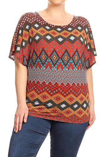 Kimono Sleeve Knit Tunic Top (HEO CLOTHING Womens Plus Size Solid and Printed Casual Short Flutter Kimono Sleeve Tunic Blouse Top Tee (Z5-Rust, 2XL))