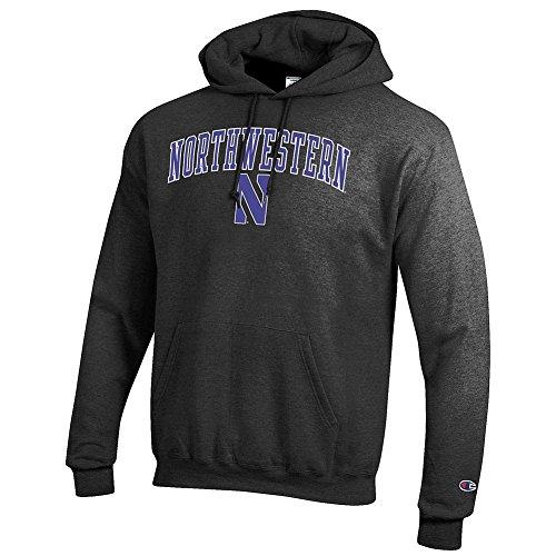 Elite Fan Shop NCAA Northwestern Wildcats Men's Hoodie Sweatshirt Dark Charcoal Gray, Dark Heather, Large