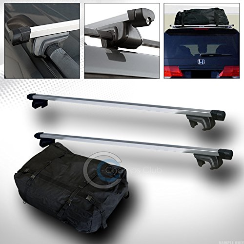 R&L Racing 49' SILVER SQUARE ROOF RAIL RACK CROSS BARS KIT+WATERPROOF CARGO CARRIER BAG C1
