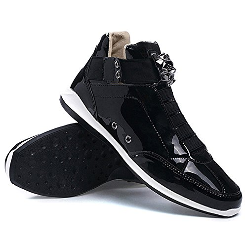 Rainstar Mens Superficie Luminosa Alta Top Fashion Sneaker Casual Scarpetta Club Scarpa Argento