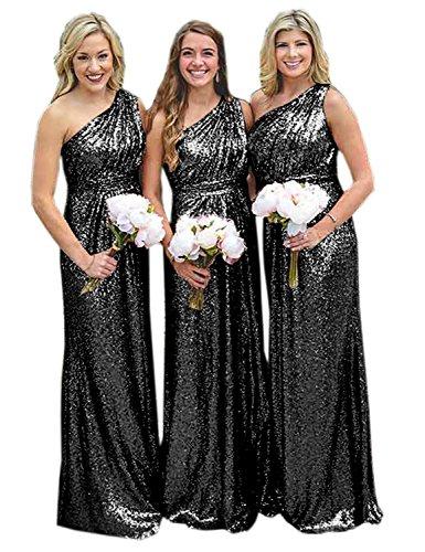 Sequin Ball - Sarahbridal Women's One Shoulder Floor Length Sequin Birdesmaid Porm Ball Gowns Black US20