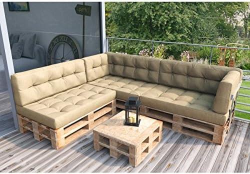 Animalmarketonline Muebles de jardín Juego de Almohadas para Pallets Completo sofá esquinero Beige: Amazon.es: Jardín