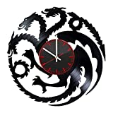 Game of Thrones Vinyl Record Wall Clock - Get unique kitchen room wall decor - Gift ideas for mother and father – Dragons Silhouette Unique Art Design