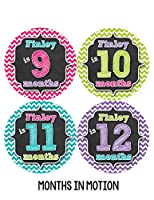 Months in Motion 495 Personalized Monthly Baby Stickers Baby Girl Month 1-12 Milestone Age