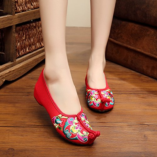 lenguado china estilo tendón femaleshoes WXT Zapatos étnico cómodo del Red manera bordados ópera xtC0C6wIq