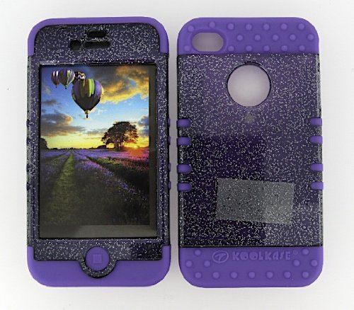3 IN 1 HYBRID SILICONE COVER FOR APPLE IPHONE 4 4S HARD CASE SOFT LIGHT PURPLE RUBBER SKIN GLITTER SMOKE LP-A042-AD KOOL KASE ROCKER CELL PHONE ACCESSORY EXCLUSIVE BY MANDMWIRELESS