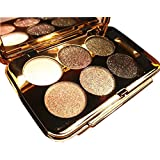 Bolaxin Womens Elegant Ladies Waterproof 6 Colors Make UP Glitter Eyeshadow Palette with Brush (Color 4)